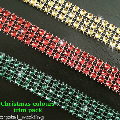 Diamante ribbon crystal cake trim  3 rows - Christmas pack  RED & GOLD & GREEN