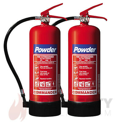 New Two 6Kg Abc Dry Powder Fire Extinguisher - Home/office/boat - Free Shipping