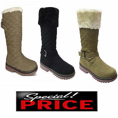 Ladies Womens Flat Knee High Calf Quilted Fur Lined Girls Winter Snow Boots Size