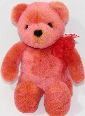Avon ROSE ORANGE TALKING TEDDY BEAR With SHEER BOW Stuffed Plush Animal SOFT TOY