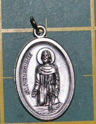 SAINT PEREGRINE Medal Pendant, SILVER TONE, 22mm X 15mm, MADE IN ITALY