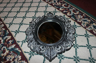 Antique Victorian Cast Iron Wall Mirror Picture Frame-Small-Lovely Shapes-#2