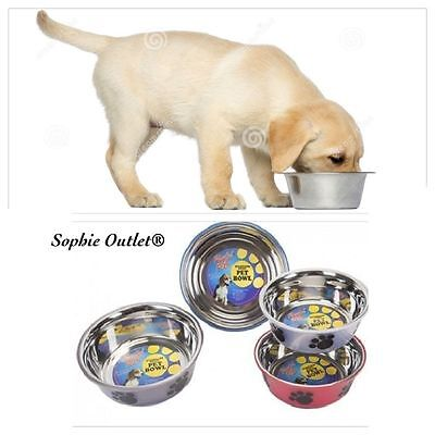 Large Stainless Steel Pet Bowl Fusion Design Dog Cat Puppy Food Water Feed Dish