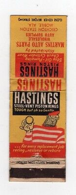 Matchbook Cover Hastings Piston Rings Steel Vent Martins Auto Parts Mobile Ala.