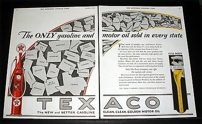 1928 Old Magazine Print Ad, Texaco Motor Oil, The New And Better Gasoline, Art!