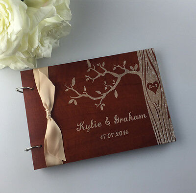 Personalized Wood Wedding Guest book,Family Tree Guestbook Album,Bridal Shower