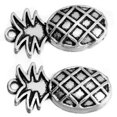 20Pcs Vintage Silver Pineapple Fruit Charms Alloy Pendants Fit Necklace L