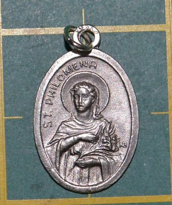SAINT PHILOMENIA VIRGIN AND MARTYR Medal Pendant, SILVER TONE, 22mm X 15mm