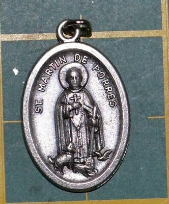SAINT MARTIN DE PORRES Medal Pendant, SILVER TONE, 22mm X 15mm, MADE IN ITALY