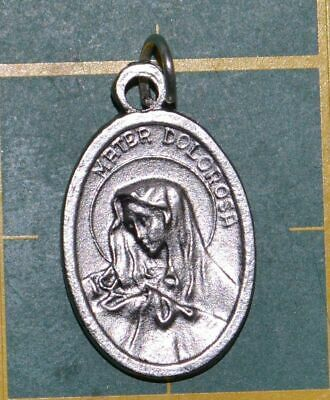 MATER DOLOROSA Medal Pendant, SILVER TONE, 22mm X 15mm, MADE IN ITALY