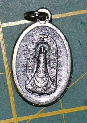 OUR LADY OF LORETO Medal Pendant, SILVER TONE, 22mm X 15mm, MADE IN ITALY