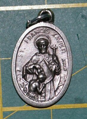 SAINT FRANCIS XAVIER Medal Pendant, SILVER TONE, 22mm X 15mm, MADE IN ITALY