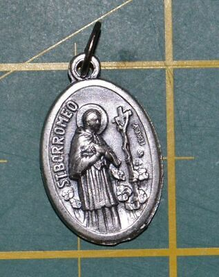 SAINT BORROMEO Medal Pendant, SILVER TONE, 22mm X 15mm, MADE IN ITALY