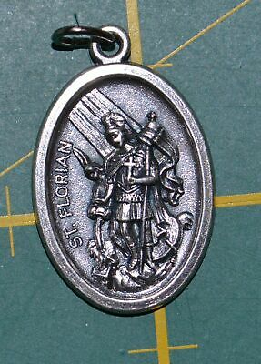 SAINT FLORIAN Medal Pendant, SILVER TONE, 22mm X 15mm, MADE IN ITALY