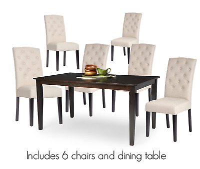 7pc Espresso Marble Dining Room Kitchen Set Table 6 Ivory Parson Chairs 7 Piece