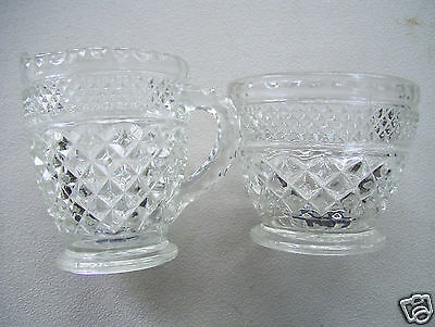 Antique  Clear Glass Crystal Decorated Sugar Bowl & Creamer Set