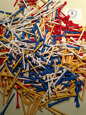 "1000 JL Golf mixed wooden tees 69 / 70mm long (2 3/4"") *NEW* Xmas gift  fathers"