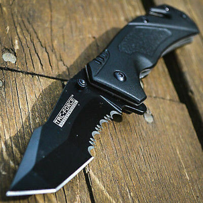"8"" SPRING ASSISTED OPEN Tanto Blade FOLDING POCKET KNIFE Bowie Combat Switch"