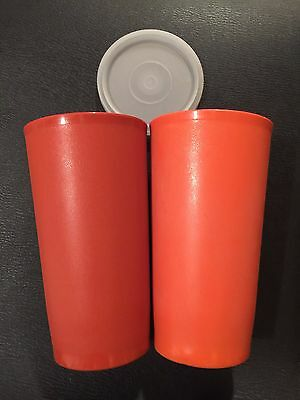 TWO VINTAGE TUPPERWARE Tall Cups Red and Orange with one Lid