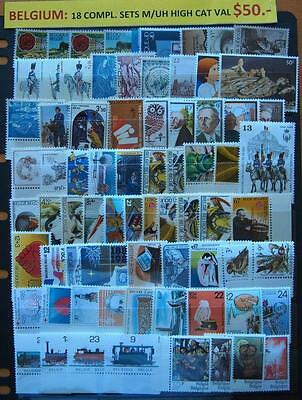 Belgium  All Different 18 Complete Sets Mint Unhinged Stamps- High Cat Value