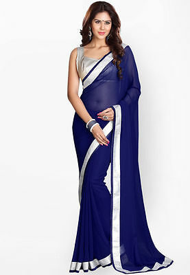 Blue Bollywood Indian Pakistani Ethnic Designer Party Saree Sari With Blouse