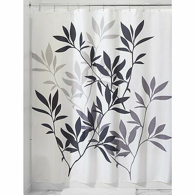 InterDesign Leaves Shower Curtain, Black and Gray, 72-Inch from InterDesign New