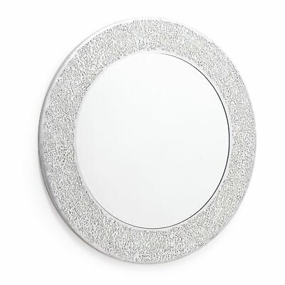 Round Silver Mosaic Sparkle Wall Mirror. High Shine Crackle Effect 40 x40cm