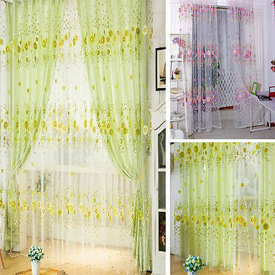 Sunflower Door Window Curtain Floral Tulle Voile Drape Panel Sheer Scarf Valance