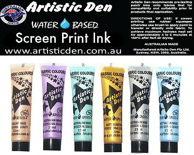 Metallic Screen Ink Set  Metallic Screen Printing Ink 6 x 15ml Permaset Comp **