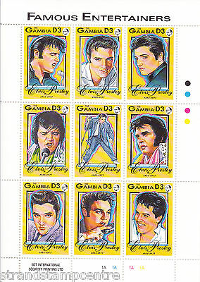 Elvis Presley Famous Entertainers UMM Stamp Sheet (Gambia)
