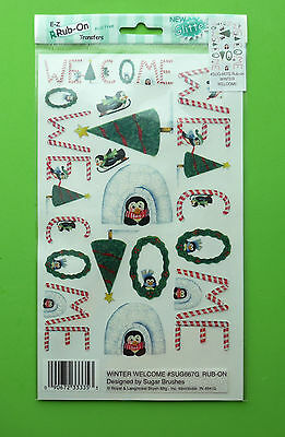 E-Z Rub On Transfers Sentiments For Cardmaking & Scrapbooking - Winter Penguin