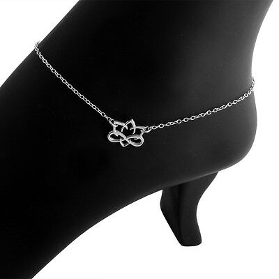 Small Lotus Flower Pendant Anklet #925 Sterling Silver #Azaggi A0711S