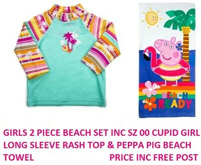 Girls Baby Cupid Girl Green Pink Tropical Rash Top Long Sleeve Swimwear Size 00