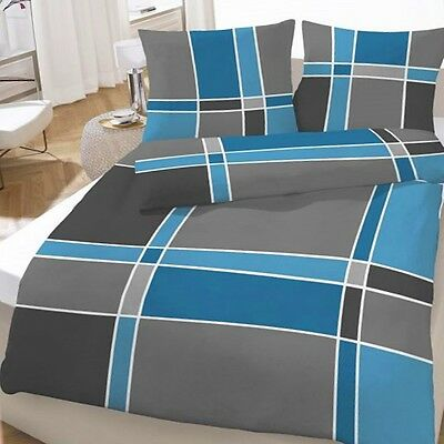 biber bettw sche gro karo kariert anthrazit blau 135x200 cm eur 24 99 picclick de. Black Bedroom Furniture Sets. Home Design Ideas