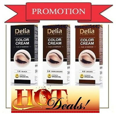 PROFESSIONAL DELIA HENNA COLOR CREAM Beautifully emphasized EYEBROW TINT KIT DYE