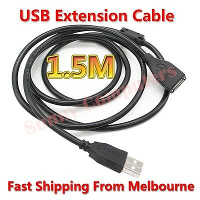 2X USB Extension Cable Type-A Male to Female 1.5M Lead Cord With Magnetic Ring