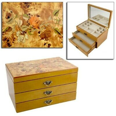 Mele Wooden Jewellery Box With Inlaid Oriental Rose Marquetry Design Jewel Chest