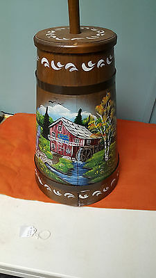 Butter Churn Country Kitchen Folk Art Hand Painted Water Mill Sullivan