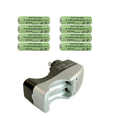 BATTERY CHARGER 8 x  ULTRA AAA  RECHARGEABLE BATTERIES FOR CAMERAS AND GADGETS