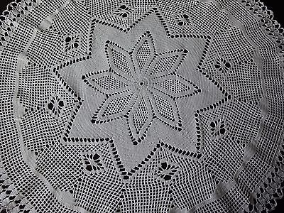 Lovely Vintage Handmade White Round Cotton Crochet Tablecloth