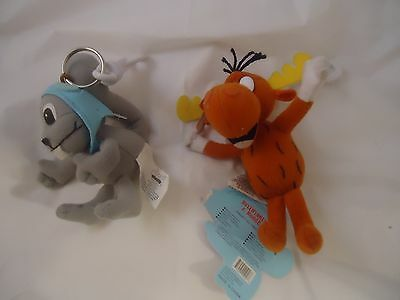 Rocky Squirrel & Bullwinkle J. Moose Plush Figure Keychain w/ Additional Clip