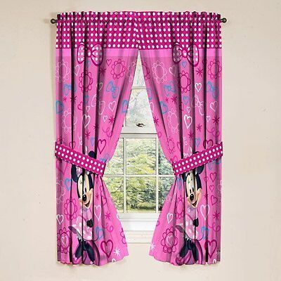 Disney Minnie Mouse Window Panels Curtains Drapes Pink Bow-tique XTS AOI NEW