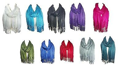 Ladies Womens Glitter Scarf Shawl Stole Cover Up with Lurex Thread Stripes (S1)
