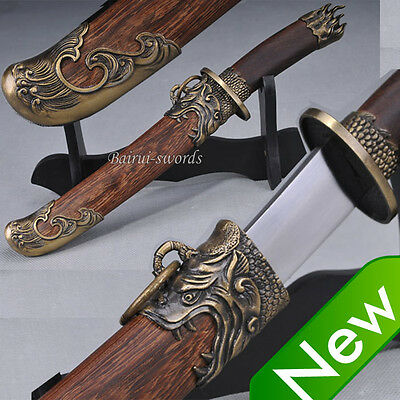 Carbon Steel Blade Rose Chinese Dragon Tiger Sword Qing Dao