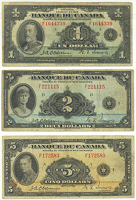Bank of Canada BC-2, BC-4 & BC-6  dated $1, $2 & $5  dated 1935 french text