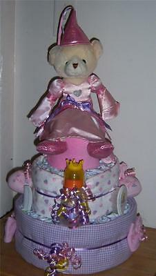 Baby Shower 3 Tier Princess Diaper Cake, Teach Me Princess Bear
