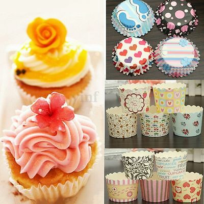 50/100X Paper Cake Cup Cupcake Cases Liners Muffin Kitchen Baking Wedding Party