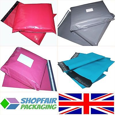 UK MADE Grey Pink Blue Red Coloured Mailing Bags Postage Postal Plastic Mailers