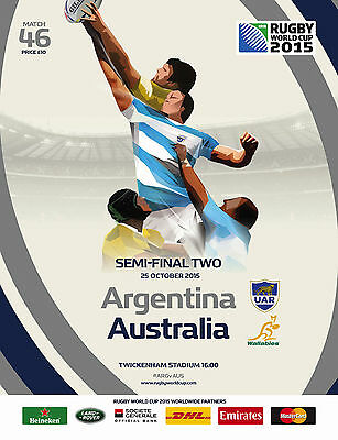 ARGENTINA v AUSTRALIA SEMI-FINAL RWC 2015 OFFICIAL PROGRAMME 25 Oct, Twickenham