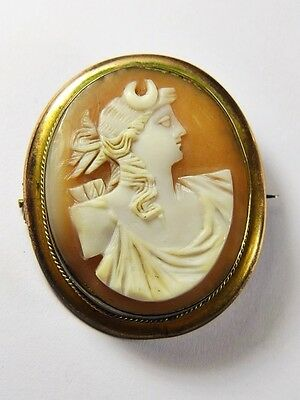 Lovely Antique Victorian Italian Natural Shell Cameo Brooch Diana Grand Tour